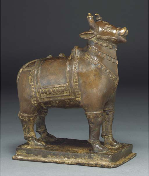A bronze model of a bull, Indi