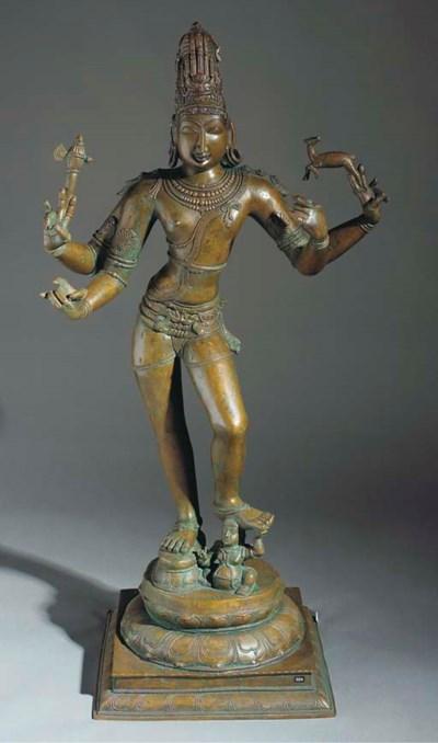 A large bronze model of Shiva,