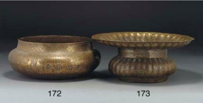 A brass two-sectioned basin, I