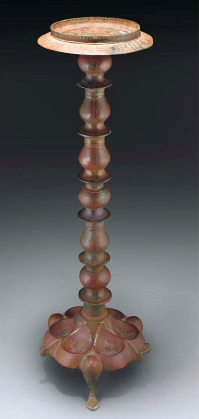 A BRONZE TRIPOD LAMPSTAND, AFG