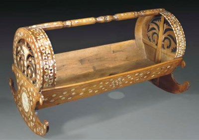 An Ottoman inlaid wood childs