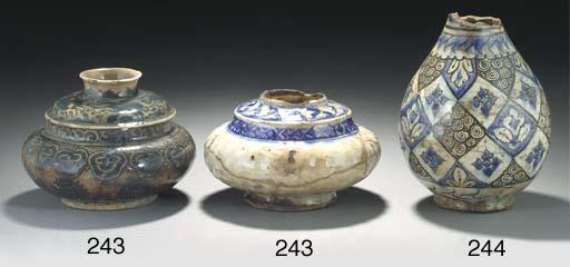 A Safavid glazed pottery vase,
