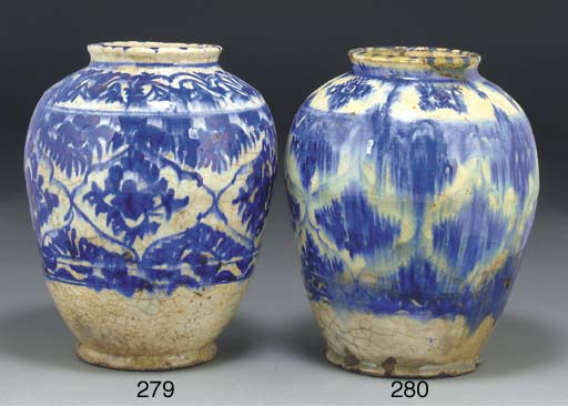 A glazed blue and white jar, I