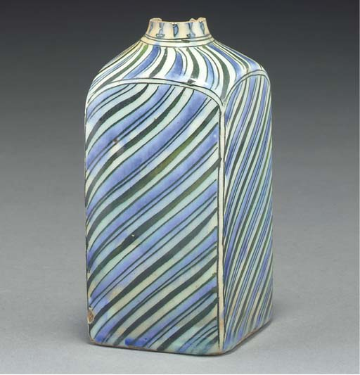 A glazed pottery flask, Iran,