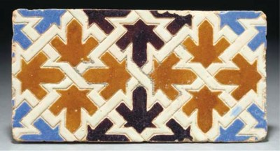 A pair of moulded ridge tiles,