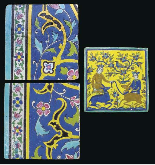 A Qajar square pottery tile, I