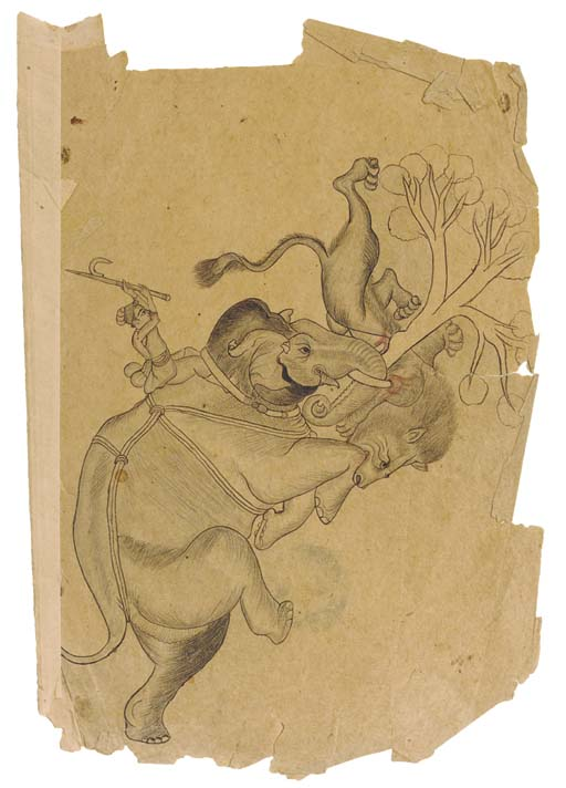 ELEPHANT FIGHTING WITH A LION,