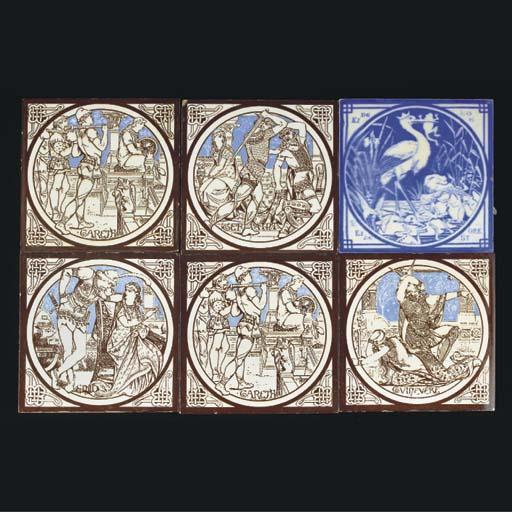 Six Various Minton Tiles