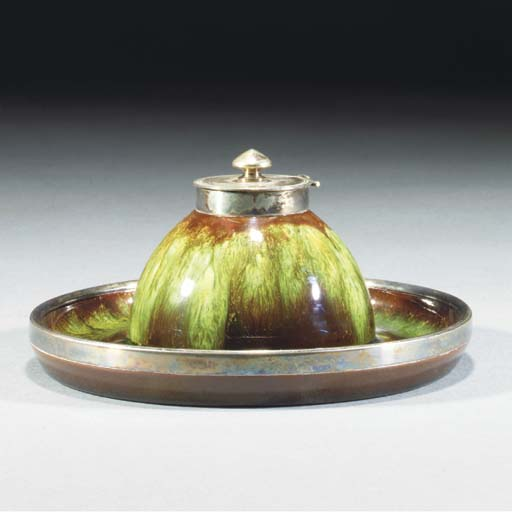 A Linthorpe Inkwell with Hukin