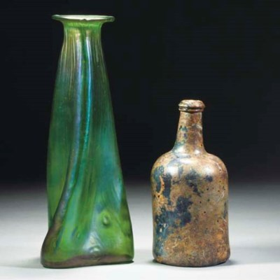 A Loetz Green Iridescent Glass