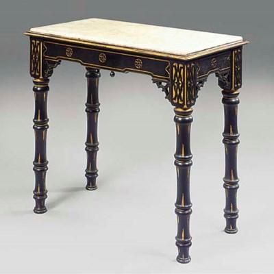 AN EBONISED WOOD HALL TABLE