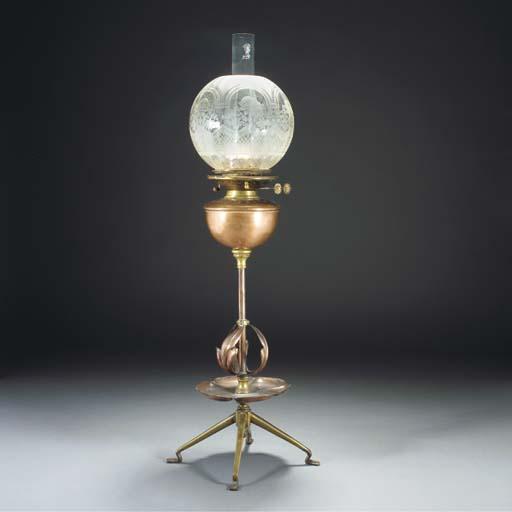 A WAS Benson Copper Oil Lamp