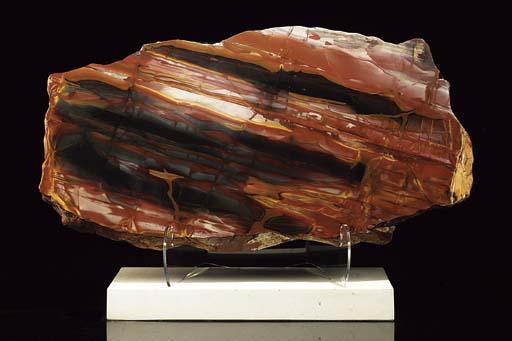 A large polished jasper slice,