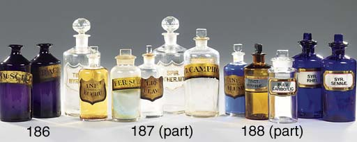 Eleven Victorian glass pharmac