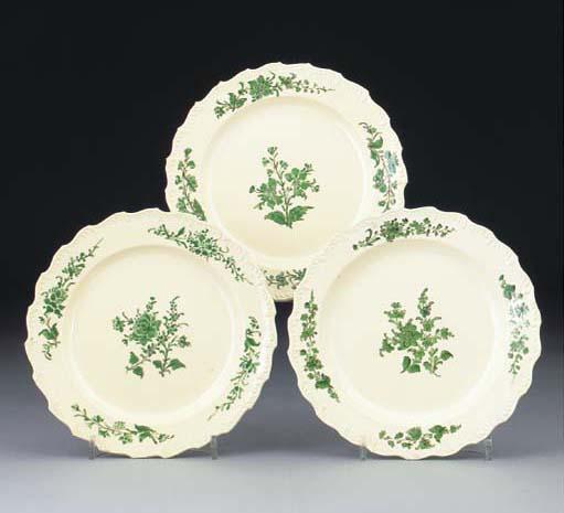 Three English creamware desser