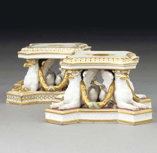 A pair of Derby pedestals