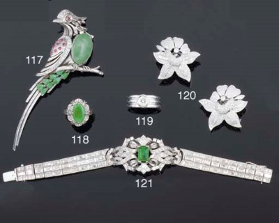 A diamond and gem bird brooch