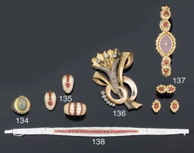 A suite of 18ct. gold, ruby an