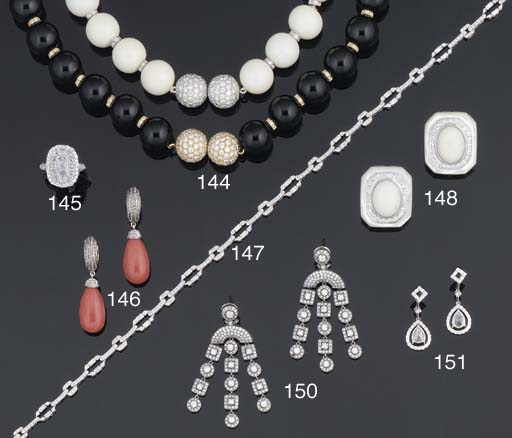 Two bead and diamond necklaces