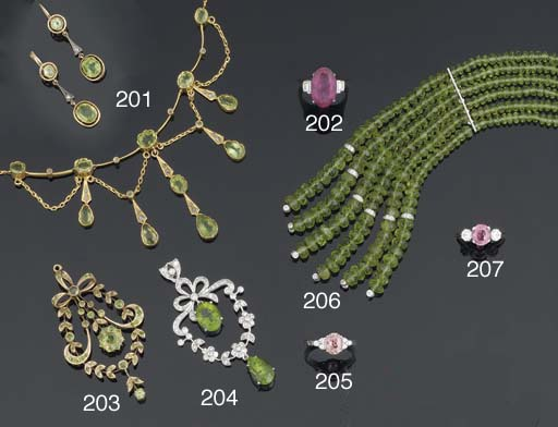 A peridot and diamond pendant