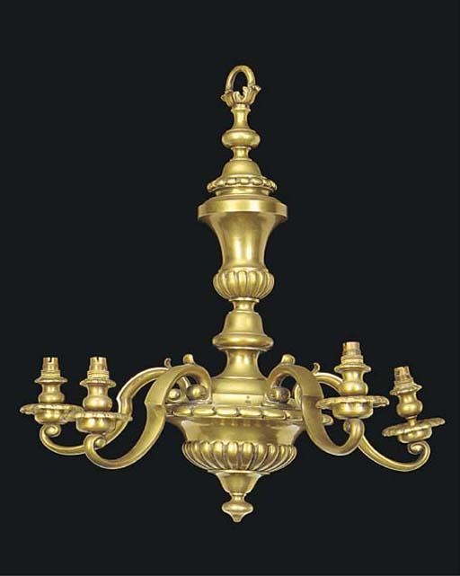 A brass five light electrolier