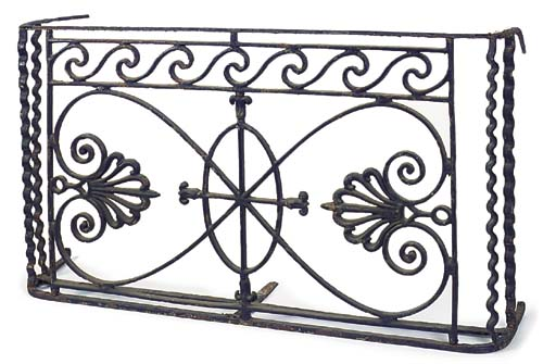 A wrought and cast iron balcon