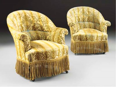 A PAIR OF FRENCH EASY ARMCHAIR