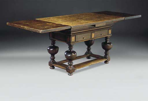 A DUTCH OAK AND INLAID DRAW LE