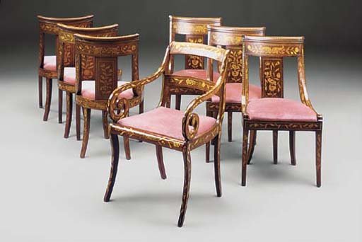 A SET OF SIX DUTCH MAHOGANY AN
