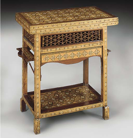 A Damascan inlaid card table