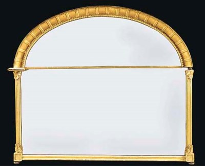 A GILTWOOD OVERMANTEL MIRROR