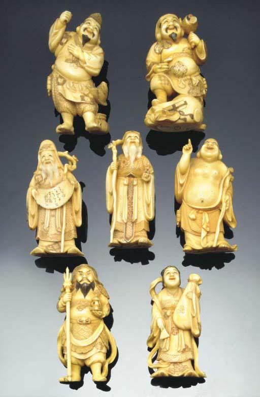 Seven Japanese ivory okimonos,