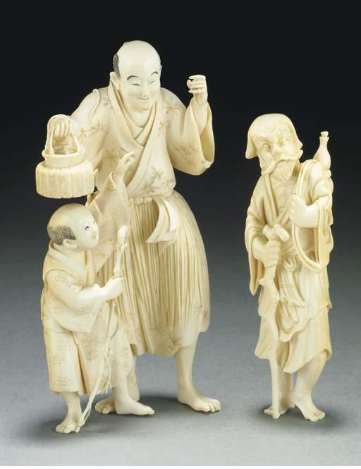 A Japanese ivory okimono, 19th