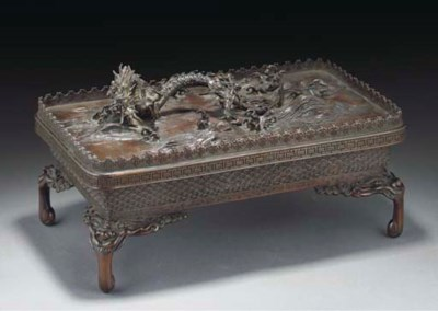 A Japanese bronze table group,