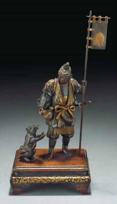 A Japanese bronze group, signe