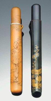 Two Japanese pipe cases, 19th