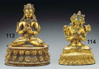 A Tibetan gilt copper model of