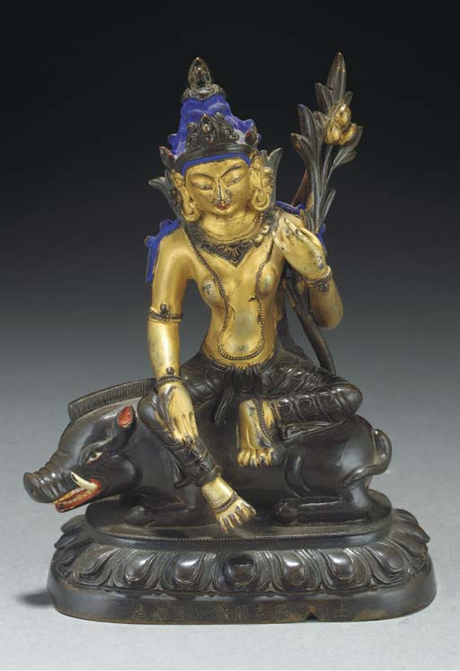 A Sino-Tibetan lacquered bronz