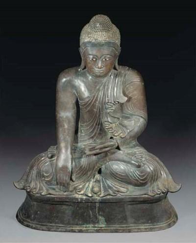 A large Burmese bronze figure
