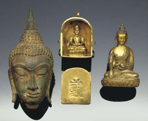 Three bronze models of Buddha,