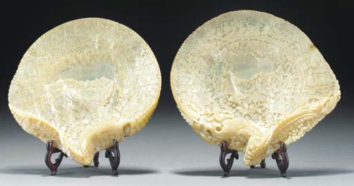 Two Chinese carved mother of p