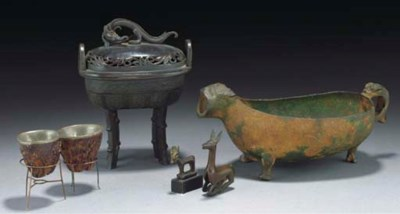 A Chinese bronze censer and co