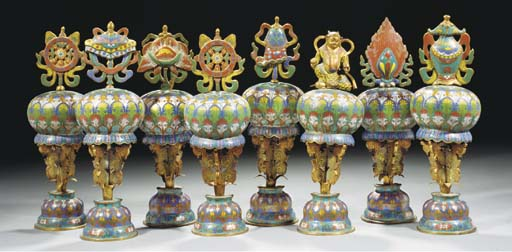 Eight Chinese cloisonne altar