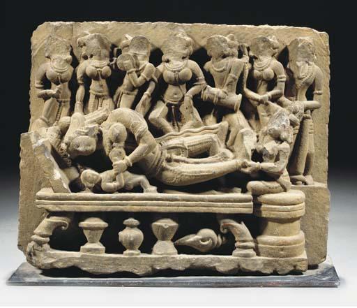 An Indian grey stone frieze, 1