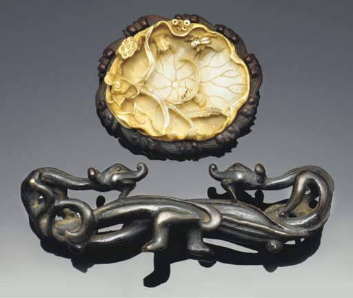 A Chinese bronze brushrest, la