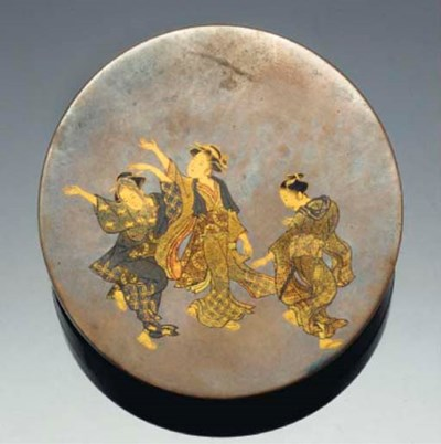 A Japanese circular lacquer ko