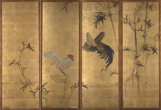 A four panelled screen, 18th c