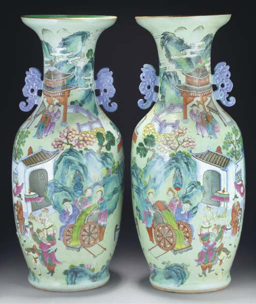 A pair of Cantonese celadon gr