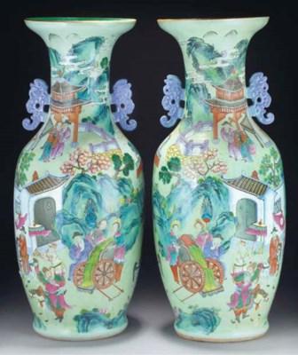A pair of Cantonese celadon gr