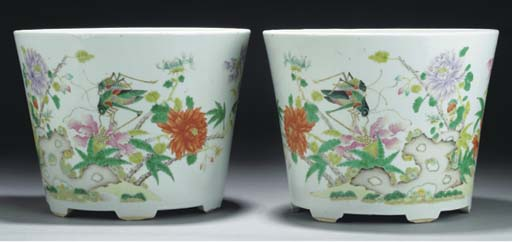 Pair of Chinese famille rose j